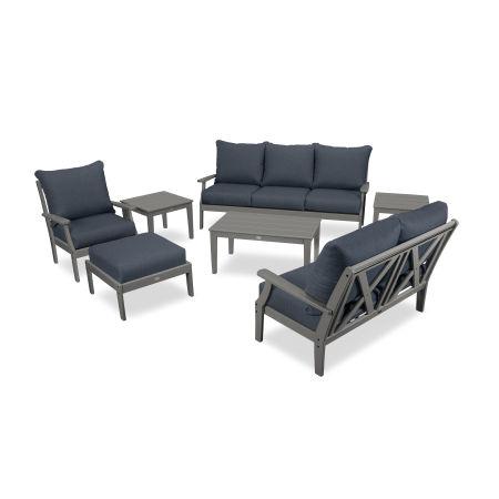 Braxton 7-Piece Deep Seating Set in Slate Grey / Sancy Denim