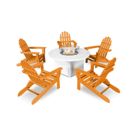 Classic Folding Adirondack 6-Piece Conversation Set with Fire Pit Table in Tangerine