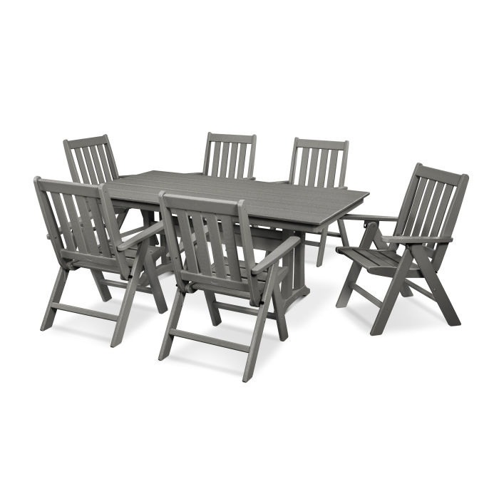 Vineyard 7-Piece Farmhouse Trestle Folding Dining Set