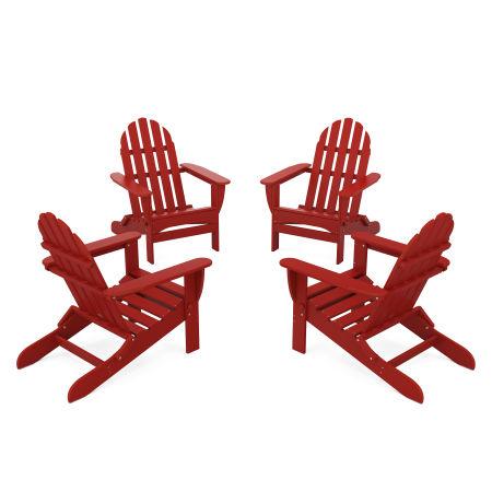 4-Piece Classic Folding Adirondack Conversation Set in Crimson Red