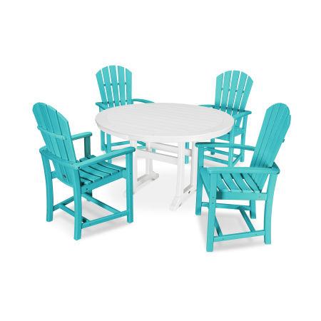 5 Piece Palm Coast Dining Set in Aruba / White