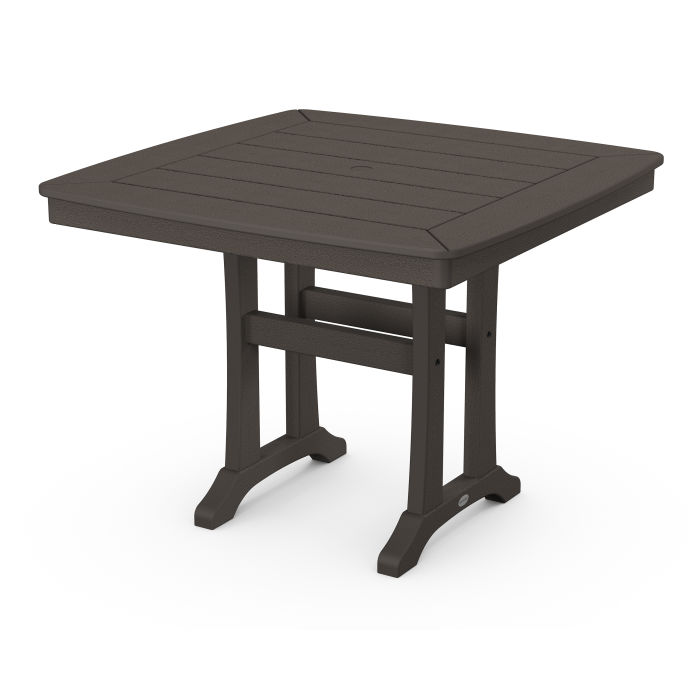"""Nautical Trestle 37"""" Dining Table in Vintage Finish"""