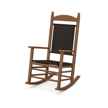 Jefferson Woven Rocking Chair in Teak Frame / Cahaba