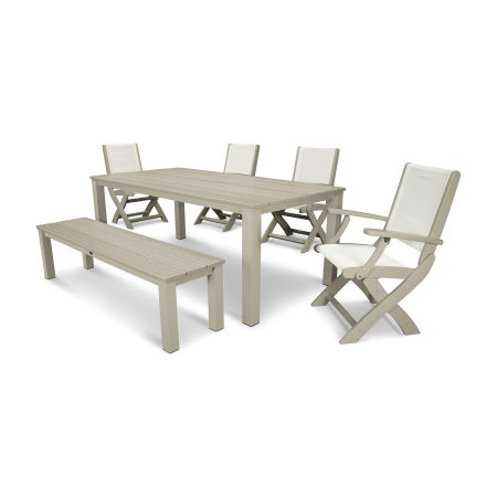 Coastal 6-Piece Harvest Bench Dining Set in Satin Tan / Sand / White Sling