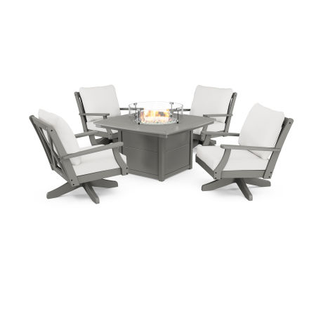 Braxton 5-Piece Deep Seating Swivel Conversation Set with Fire Pit Table