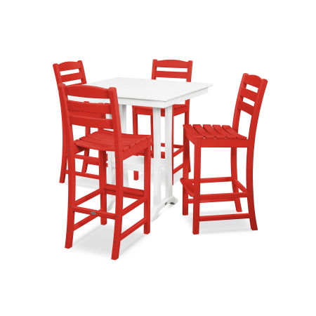 La Casa Café 5-Piece Farmhouse Bar Set in Sunset Red / White