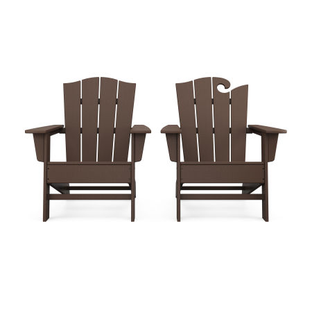 Wave 2-Piece Adirondack Chair Set with The Crest Chair in Mahogany