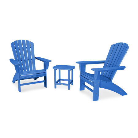 Nautical 3-Piece Curveback Adirondack Set in Vintage Pacific Blue