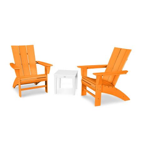 Modern 3-Piece Curveback  Adirondack Set in Tangerine / White