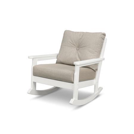 Vineyard Deep Seating Rocking Chair in Vintage White / Cast Ash
