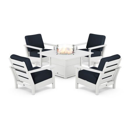 Harbour 5-Piece Conversation Set with Fire Pit Table in White / Marine Indigo
