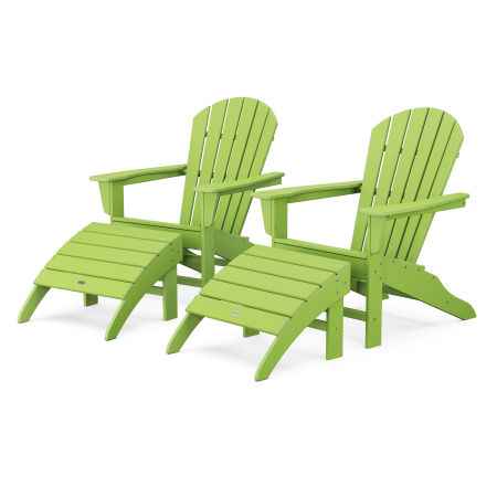 South Beach 4-Piece Adirondack Set in Lime