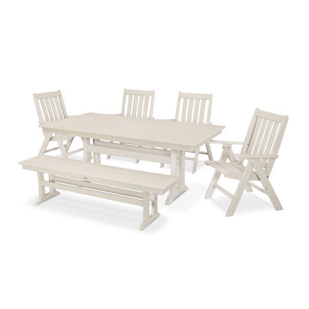 Vineyard 6-Piece Farmhouse Folding Dining Set with Bench in Sand