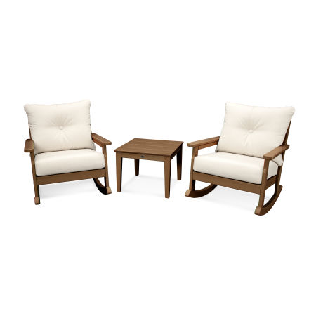 Vineyard 3-Piece Deep Seating Rocking Chair Set in Teak / Antique Beige