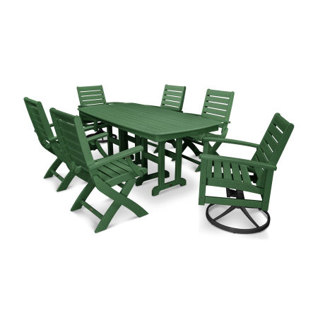 Signature 7-Piece Swivel Dining Set in Textured Black / Green