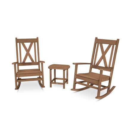 Braxton 3-Piece Porch Rocking Chair Set in Teak
