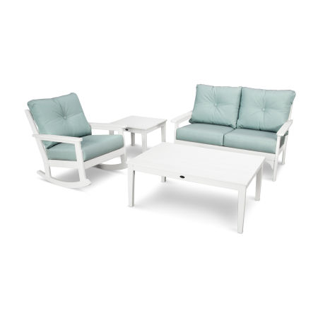 Vineyard 4-Piece Deep Seating Rocking Chair Set in White / Spa