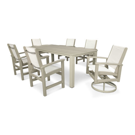 Coastal 7-Piece Harvest Swivel Dining Set in Satin Tan / Sand / White Sling