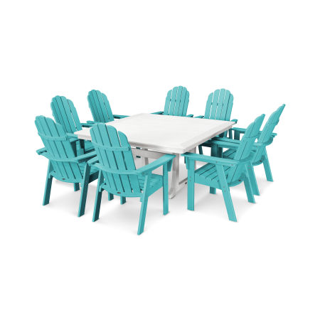 Vineyard Adirondack 9-Piece Nautical Trestle Dining Set in Aruba / White