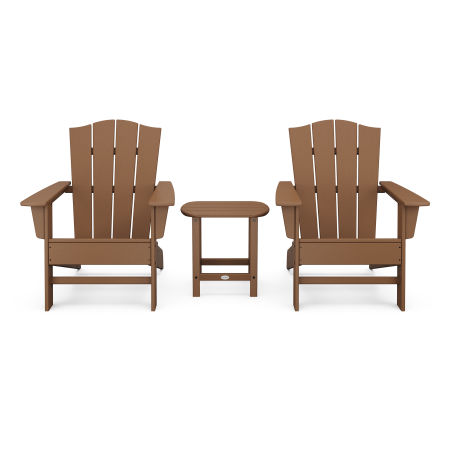 Wave 3-Piece Adirondack Chair Set with The Crest Chairs in Teak