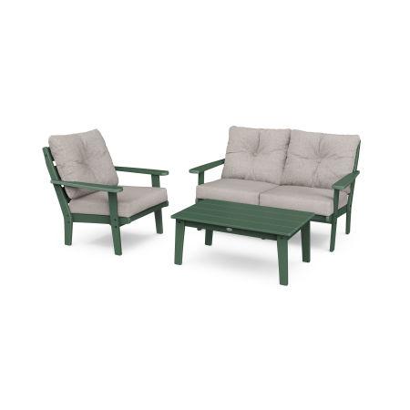 Lakeside 3-Piece Deep Seating Set in Green / Weathered Tweed