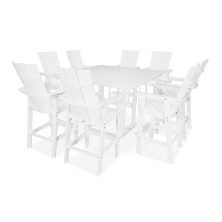 Modern Adirondack 9-Piece Farmhouse Bar Set in White