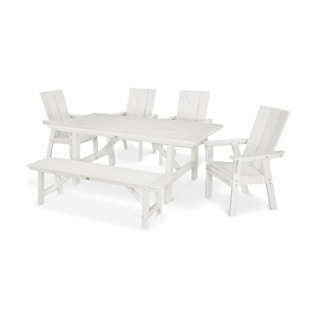 Modern Adirondack 6-Piece Rustic Farmhouse Dining Set with Bench in Vintage White