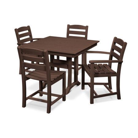 La Casa Café 5-Piece Farmhouse Trestle Dining Set in Mahogany