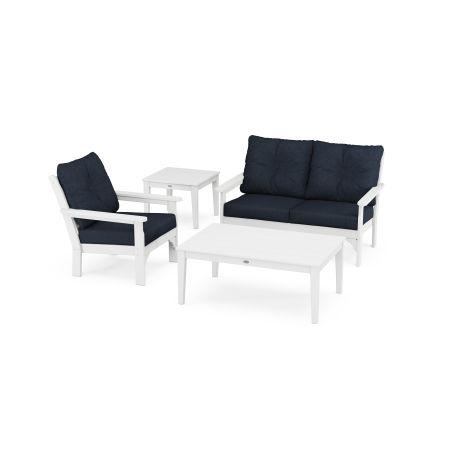 Vineyard 4-Piece Deep Seating Set in White / Marine Indigo
