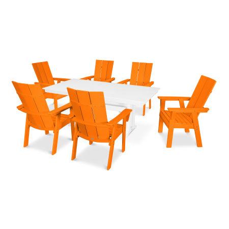 Modern Adirondack 7-Piece Farmhouse Dining Set in Tangerine / White