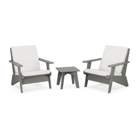 Riviera Modern Lounge 3-Piece Set in Slate Grey / Natural Linen