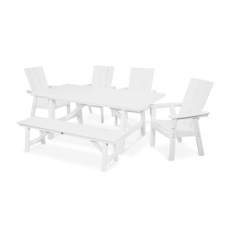 Modern Adirondack 6-Piece Rustic Farmhouse Dining Set with Bench in White