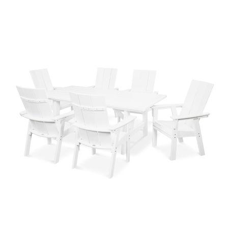 Modern Adirondack 7-Piece Rustic Farmhouse Dining Set in White