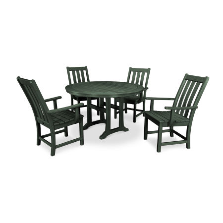 Vineyard 5-Piece Nautical Trestle Dining Set in Green