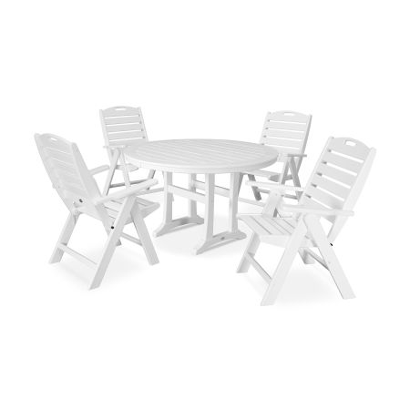 5 Piece Nautical Dining Set in White