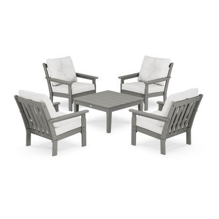 Vineyard 5-Piece Deep Seating Conversation Set in Slate Grey / Natural Linen