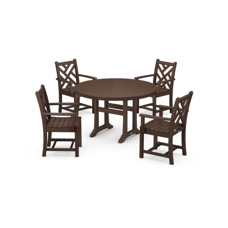 Chippendale 5-Piece Nautical Trestle Dining Arm Chair Set in Mahogany