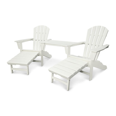 Palm Coast Adirondack Tête-à-Tête Set in White