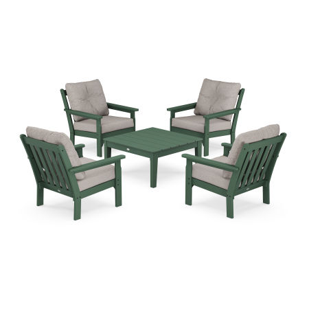 Vineyard 5-Piece Deep Seating Conversation Set in Green / Weathered Tweed