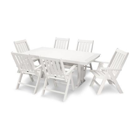 Vineyard 7-Piece Nautical Trestle Folding Dining Set in White