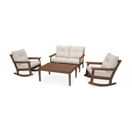 Vineyard 4-Piece Deep Seating Rocking Chair Set in Teak / Antique Beige