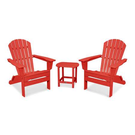 South Beach 3-Piece Folding Adirondack Set in Sunset Red