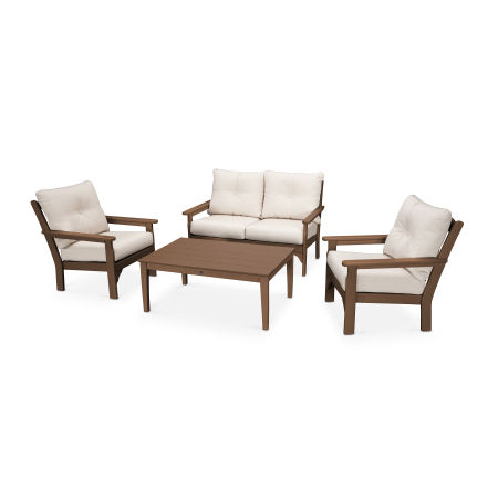 Vineyard 4-Piece Deep Seating Set in Teak / Antique Beige