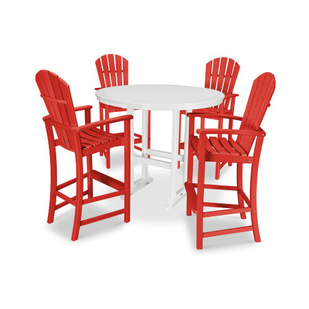 5 Piece Palm Coast Bar Set in Sunset Red / White