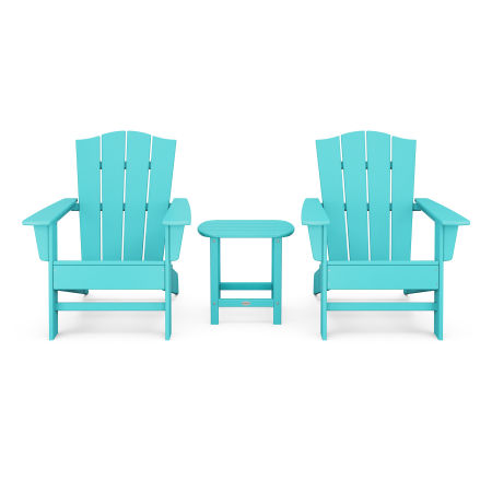 Wave 3-Piece Adirondack Chair Set with The Crest Chairs in Aruba