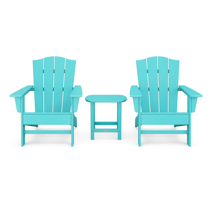Wave 3-Piece Adirondack Chair Set with The Crest Chairs
