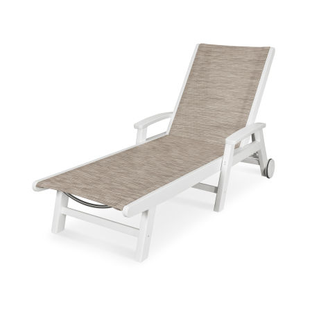 Coastal Chaise with Wheels in Vintage White / Onyx Sling