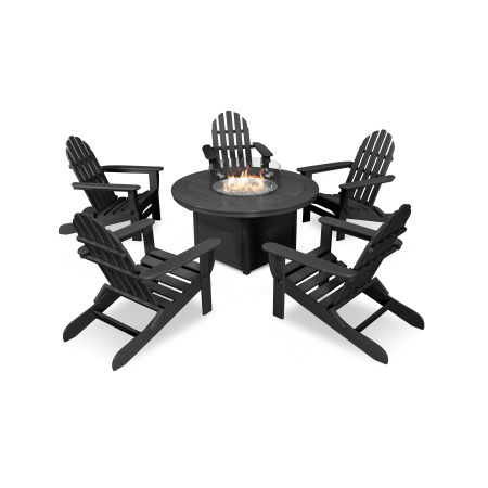 Classic Folding Adirondack 6-Piece Conversation Set with Fire Pit Table in Black