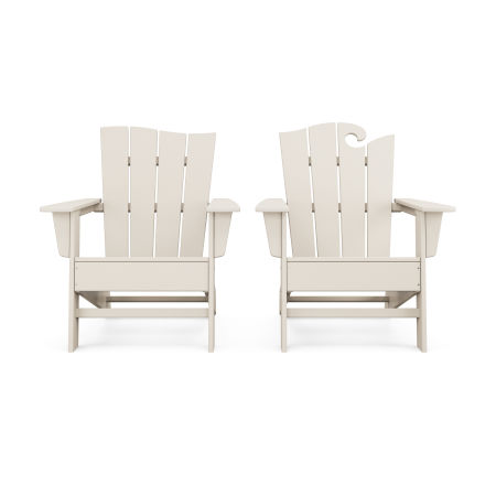 Wave 2-Piece Adirondack Set with The Wave Chair Left in Sand