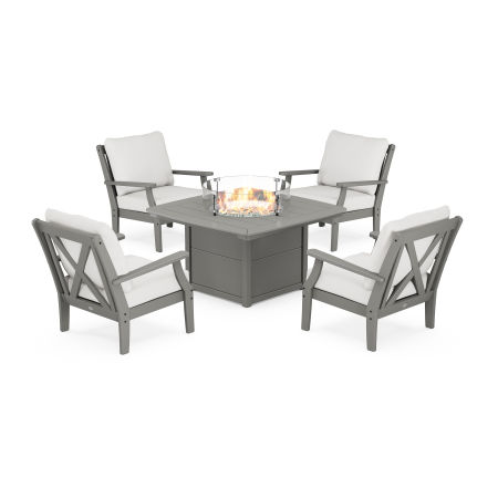 Braxton 5-Piece Deep Seating Conversation Set with Fire Pit Table in Slate Grey / Natural Linen